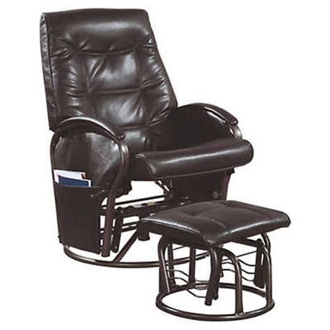 rocker recliner with ottoman brown leather look swivel rocker w ottoman smart furniture