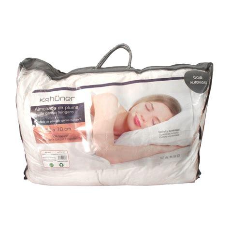 almohadas de plumas set 2 almohadas de pluma 50x70cm tiendas mgi