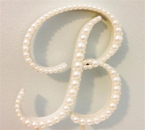 T D T S H T F pearl monogram cake topper any letter a b c d e