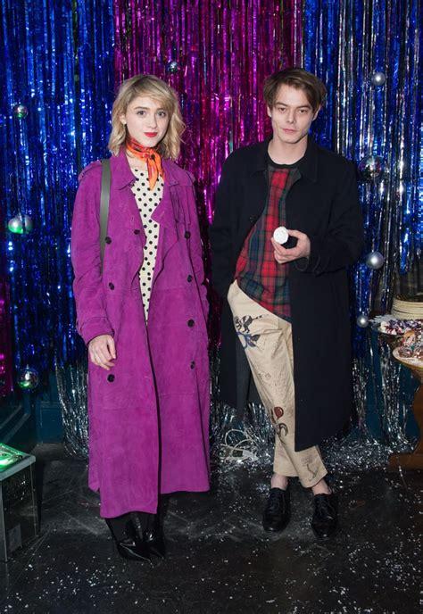 natalia dyer  charlie heaton  burberry party popsugar celebrity