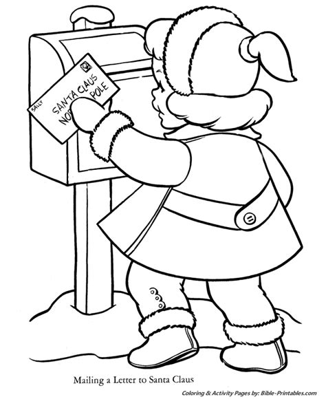 Santa Christmas Coloring Pages Depict Typical Scenes Of Letter To Santa Coloring Page