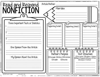 nonfiction graphic organizer by lovin lit teachers pay