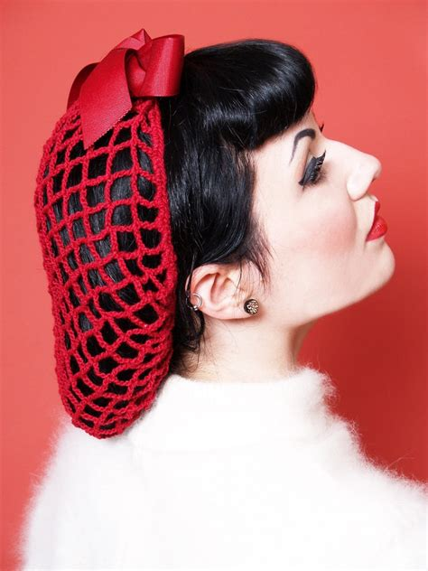 50 s hairstyles with hairnets vintage retro pinup hair snood in cherry red crocheted from