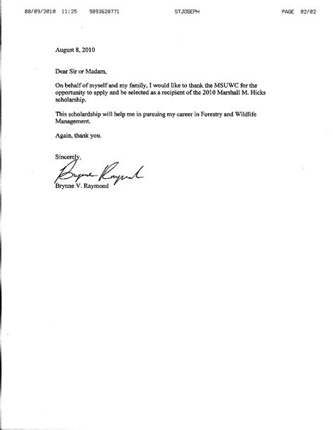 Thank You Letter Writing Template thanks you letter scholarship acceptance format