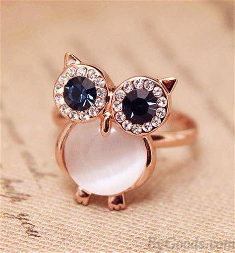 Mignon Chouette Opale Ouverture Animal Bague   Anneaux de mode   Bijoux  ByGoods.Com