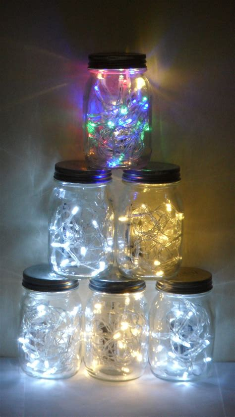 Christmas Tree Made With Led Lights In Jars Lights In Jars