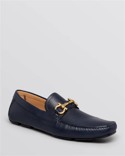 ferragamo loafers lyst ferragamo parigi pebbled leather driving loafers in