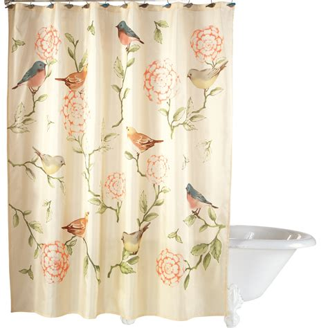 shower curtain collections collections etc birds and blooms floral shower curtain ebay