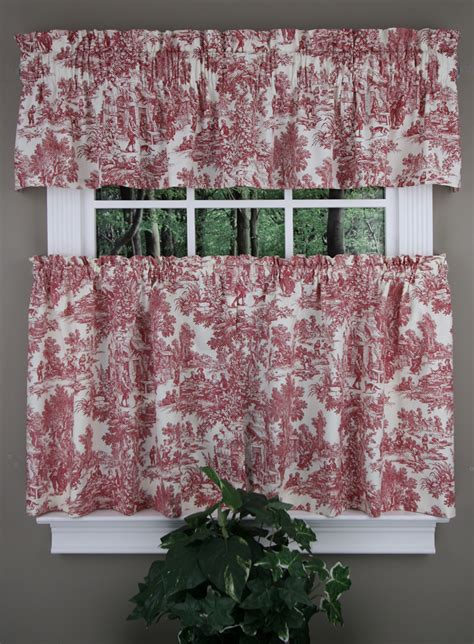 Toile Kitchen Curtains Park Tailored Valance And Tier Pair Toile Ellis Kitchen Country Curtains