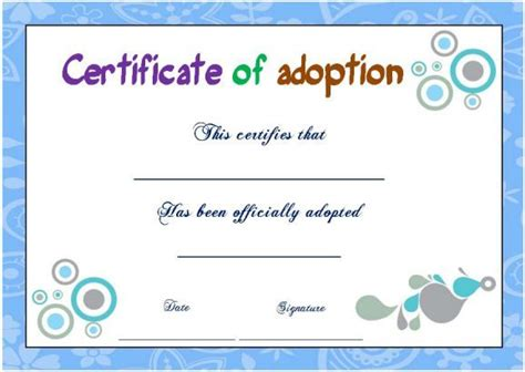 blank adoption certificate template best 25 adoption certificate ideas on paw