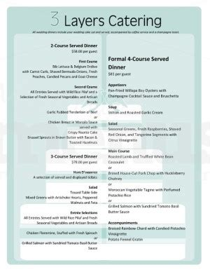 banquet menu template cake wedding catering menu template template archive