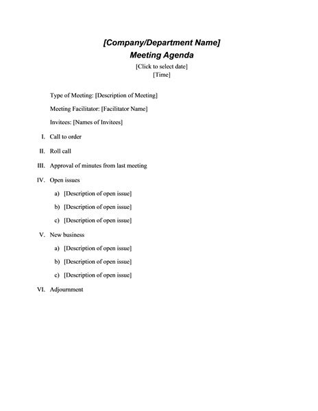 download ms office formal meeting agenda template doc