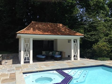 Pagoda Style Pool Cabana with Cedar Shake Roof, Shower