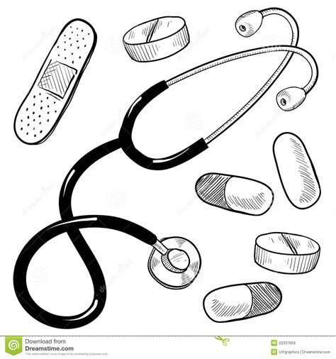 Doctor S Equipment Sketch Stock Vector Image Of Doctor Tools Coloring Pages