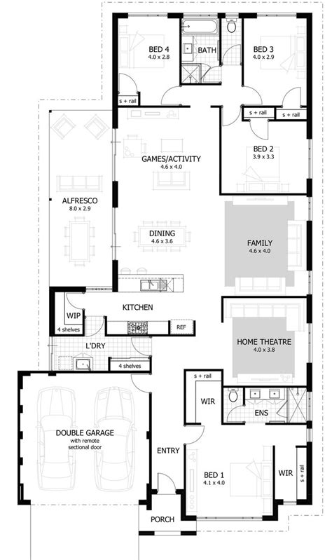 floor plans for a 4 bedroom house best 25 narrow house plans ideas on narrow