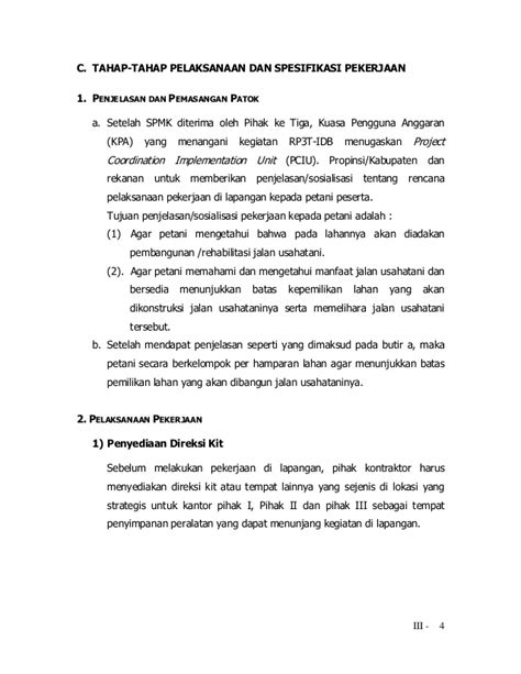 Pekerjaan Pembersihan Lahan 1 4 Pedoman Pelaksanaan Idb