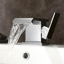 wide spout contemporary chrome finish waterfall centerset