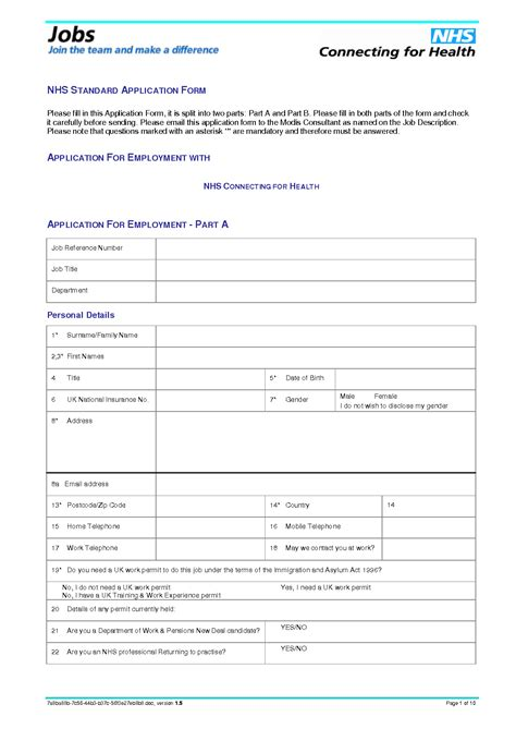 standard employment application template 9 best images of standard application printable form