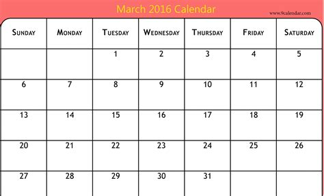 printable monthly calendars for 2016 2016 march month calendar printable printable calendar