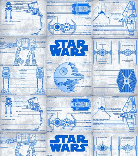 printable death star plans star wars blueprint cotton fabricstar wars blueprint
