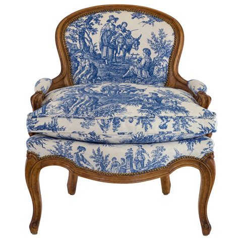 1950s Armchairs Blue And White Toile Country French Chair At 1stdibs