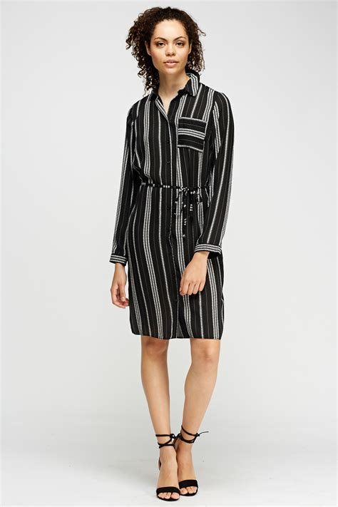 printed shirt dress black just 163 5