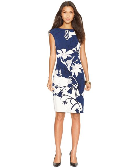 Rl Dress Glowing Blue lyst by ralph floral print boat neck dress in blue