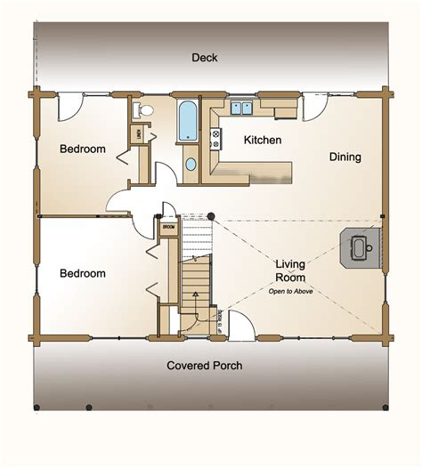 House Design And Floor Plan For Small Spaces | 3 bedroom log home plan 171 real log style