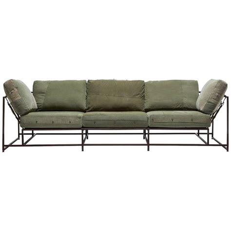 army sofa vintage military canvas and marbled rust sofa for sale at