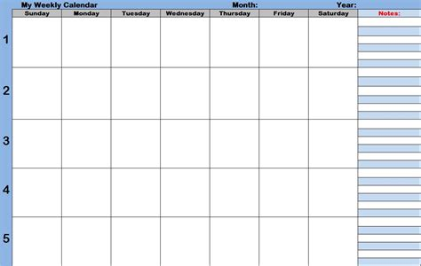 Blank Weekly Calendar 9 Best Images Of Printable Blank Weekly Time Slots