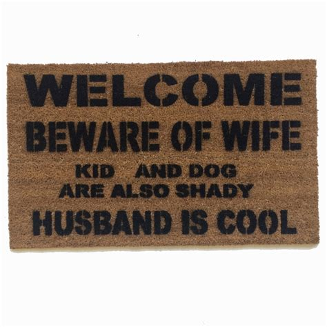 funny welcome mats welcome beware of wife rude funny doormat damn good