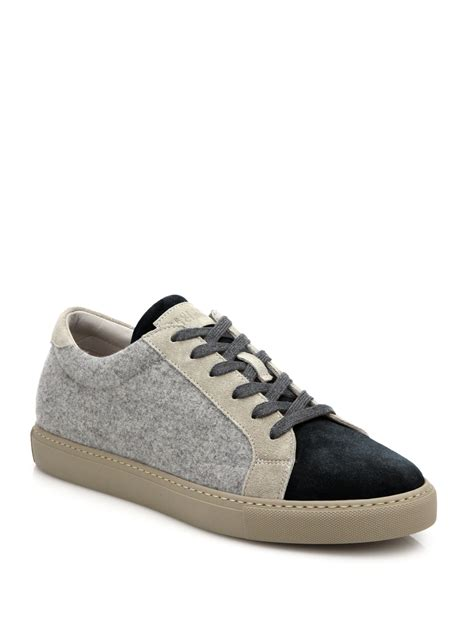 sneakers for brunello cucinelli mixed media wool blend sneakers in gray