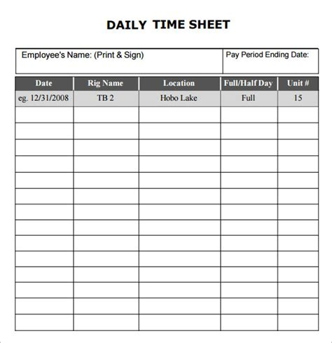 daily card template free printable time sheets pdf beneficialholdings info