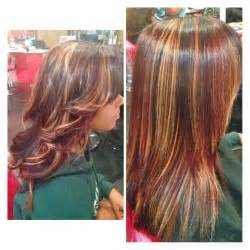 Blonde and red highlight hair pinterest