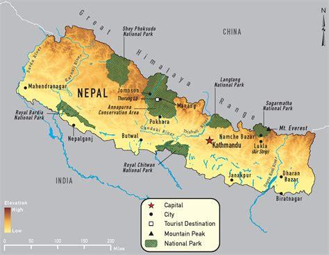 nepal on map nepal map chitwan