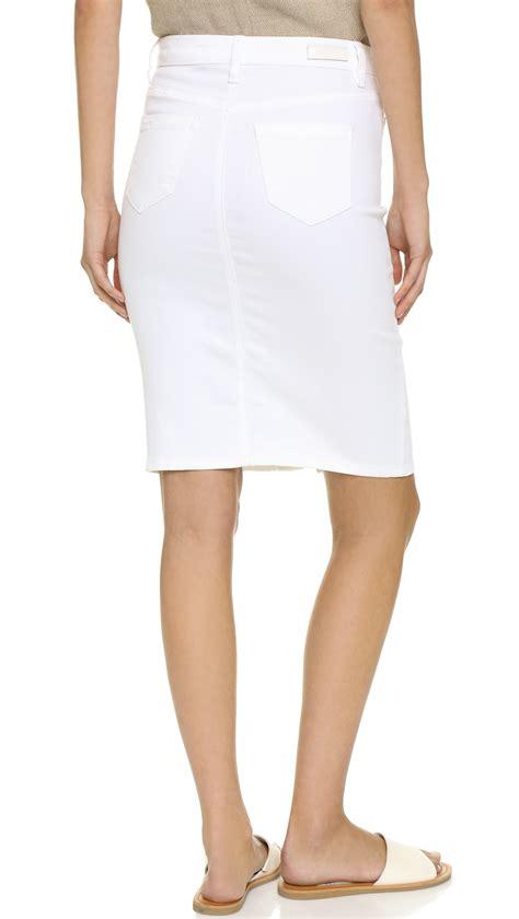 blank button up denim skirt in white lyst