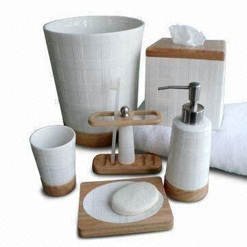 wood bathroom accessories sets ceramic bath accessories set with solid wood and