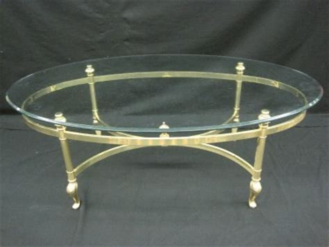 ethan allen glass coffee table vintage ethan allen brass glass bevelled oval coffee table