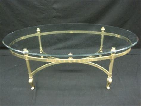 Vintage Ethan Allen Brass Glass Bevelled Oval Coffee Table Ethan Allen Glass Coffee Table