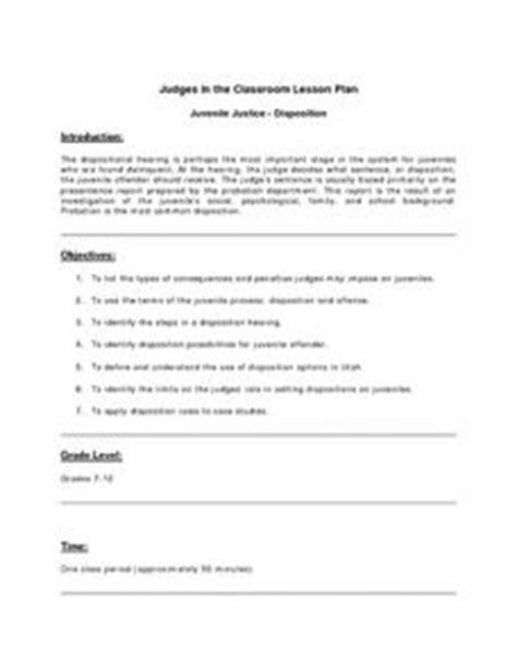 juvenile justice disposition lesson plan    grade lesson planet