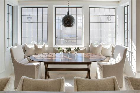 dining table with sofa chairs monogrammed slipcovered chairs transitional dining room
