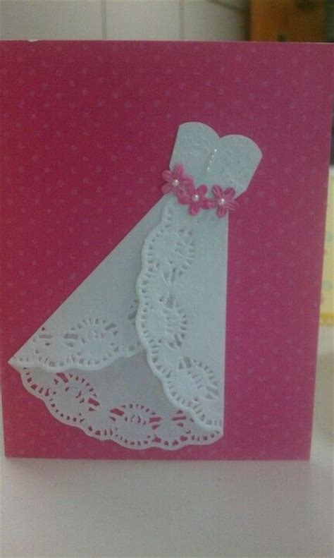 Paper Craft Wedding - my wedding dress card made with a doily paper crafts