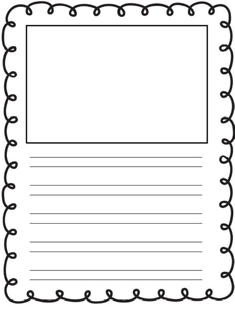 printable lined story paper free printable kindergarten writing paper with picture box