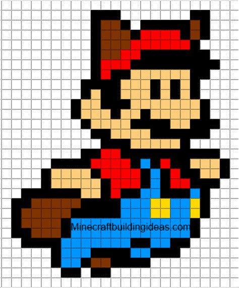 minecraft pixel art templates mario