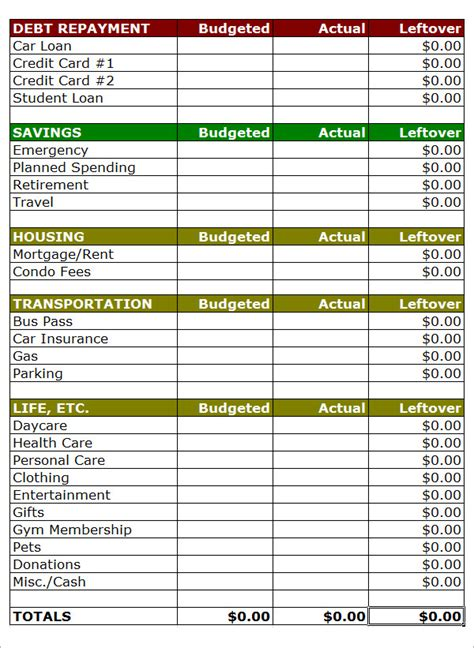 12 Budget Sles Sle Templates How To Make A Personal Budget Template