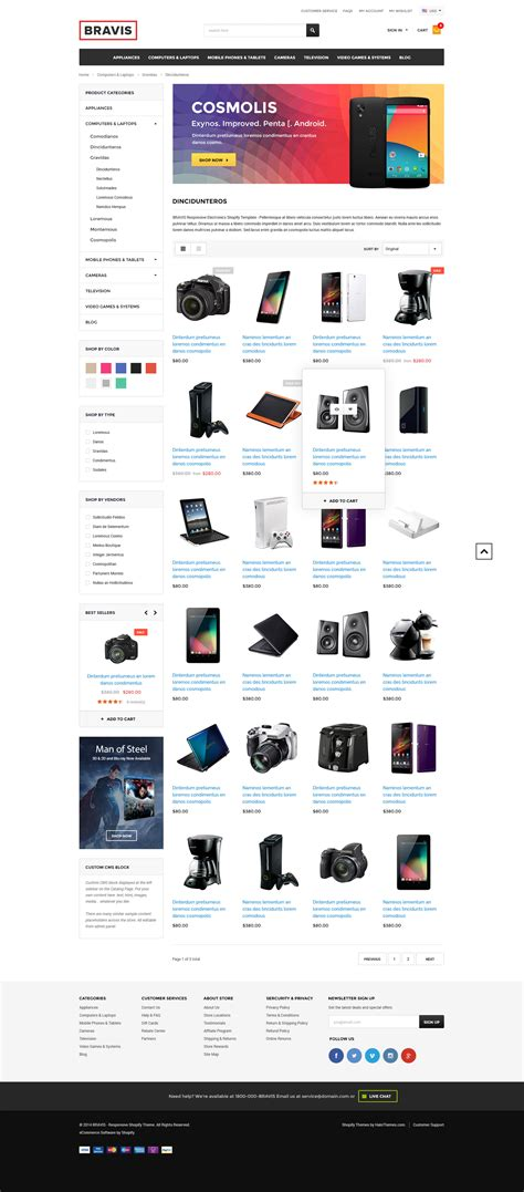 shopify templates responsive bravis responsive electronics shopify template sections