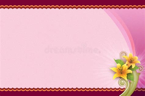 landscape birthday card template pink background with flower for blank card stock