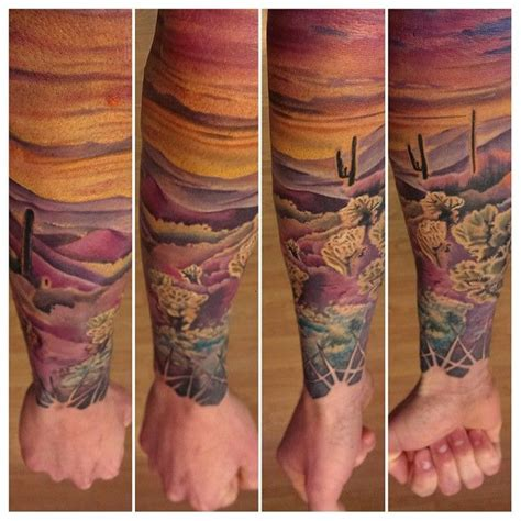 arizona tattoo color realism desert landscape half sleeve sunset