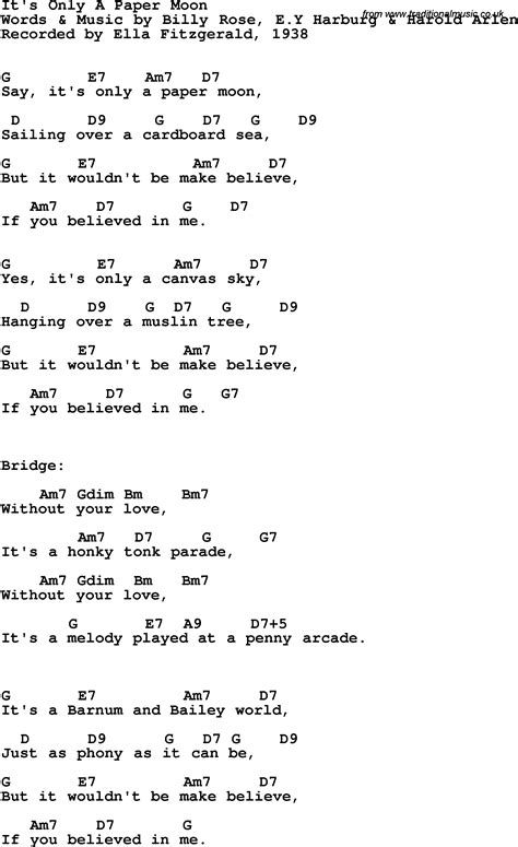 Paper Lyrics - it s only a paper moon song