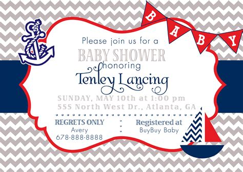 printable nautical invitation template nautical baby shower invitations templates invitations